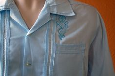 Large  Mens Cuban Guayabera  Blue Embroidered Mens by OfFourOuts, $17.00
