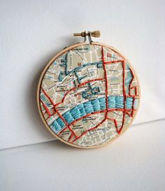 Embroidered Map in Hoop Frankfurt    Original mixed media piece that includes vintage map and embroidery in hoop.    This 4 inch hoop showcases the