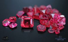 "Fine Mogok red spinel (over 5 carats) with Mogok spinel crystals including ""Star of David"" macles. Photo: Vincent Pardieu/Gübelin Gem Lab, 2008."