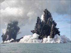 An undersea volcano erupts sending plumes of steam, ash and smoke up to 100 metres into the air, on 18 March 2009 off the coast of Nuku'Alofa, Tonga. The volcano, which is situated approximately six miles off of the main Tongan island of Tongatapu, is one of around 36 undersea volcanoes clustered in the area.