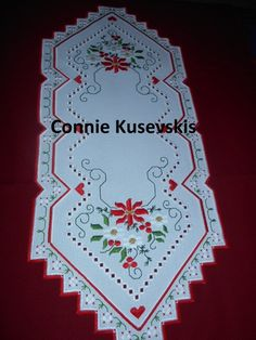 Hardanger Christmas Runner - stitchin fingers