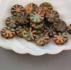 Czech glass beads turquoise pressed wheel 18mm by allthingsbeaded
