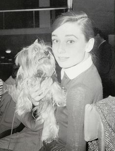 Audrey Hepburn and Mr. Famous at Ciampano Airport, Rome, 1950's
