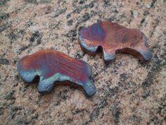 Raku Buffalo Focal Beads