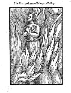 The small woodcut of Margery Polley (Type 2), placed in the text where Foxe promises a fuller account to come, is the first to show a single women in the ...  https://www.johnfoxe.org/woodcuts/f1714w.gif