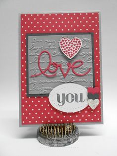 """Handmade Valentine says """"Love"""" with Expressions Thinlits Dies! - Stampin with Georgia"""