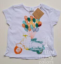 Camiseta infantil estampada a mano con motivo de vespa retro http://marijoepintora.blogspot.com.es/
