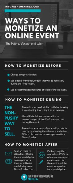 Creating and hosting online events (such as workshops, challenges, and live trainings) can be fun   seriously helpful and profitable. AND you dont only have one way to monetize--there are several ways to make money from your event.