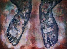Miriam Vlaming, Die Füße Die Mich Tragen, 2010, Egg tempera on canvas, 160 x 140 cm | Galerie Dukan