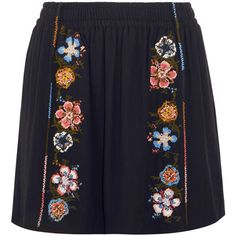 Chloé EXCLUSIVE Embroidered crepe mini skirt (€875) ❤ liked on Polyvore featuring skirts, mini skirts, short mini skirts, blue mini skirt, flower skirt, blue skirt and pull on skirts