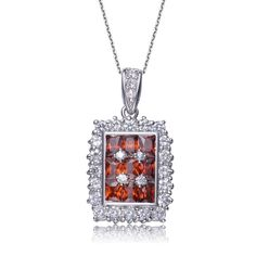 Collette Z Sterling Silver Red and Clear Cubic Zirconia Rectangle Necklace