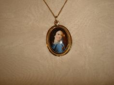 "Antique Victorian Painting on PORCELAIN LADY PENDANT Necklace ~ (1""x3/4"")  Gold Filled Frame &18"" Chain ~ Hand Painted by PastPossessionsOnly on Etsy"