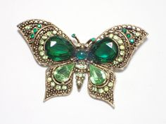 Vintage Signed ART Butterfly Brooch green rhinestones Figural AB447 by…