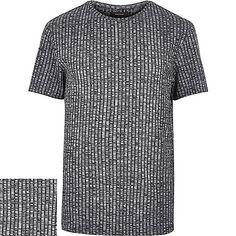 Navy chunky ribbed short sleeve t-shirt - plain t-shirts - t-shirts / tanks - men