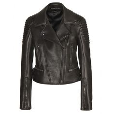 Tom Ford - Leather biker jacket - Tom Ford's black leather biker is made fom beautifully soft Italian leather and will carry you from season to season. The buckled side tabs ensure it fits perfectly to your shape, while the satin lining means it layers charmingly. seen @ www.mytheresa.com