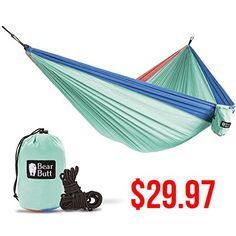 Bear Butt #1 Double Hammock - A Start Up Company With Top Quality Gear At Half The Cost Of The Other Guys (Touquoise / Dark Blue / Coral). For product & price info go to:  https://all4hiking.com/products/bear-butt-1-double-hammock-a-start-up-company-with-top-quality-gear-at-half-the-cost-of-the-other-guys-touquoise-dark-blue-coral/