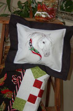Christmas Horse Pillow on Heirloom Hemstitchd Linen