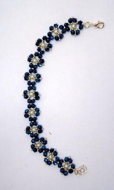 Beaded braceletflower braceletcrystal braceletfaux pearl