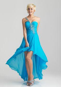 En Axel Asymmtrisk Hjärtformad Chiffong Prom Dresses