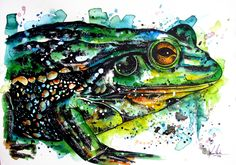 This was inspired after a trip to the museum the other day, I love all the bright green/turquoise in contrast to the bold black areas. I also particularly like this frogs eyes and really tried to give them some depth.