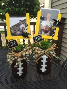 Football center piece for High School Graduation. Used Mason Jars and laminated pictures and inserted in field goal. Football center piece for High School Graduation. Used Mason Jars and laminated pictures and inserted in field goal. Football Crafts, Football Themes, Football Decor, Senior Football Gifts, Football Player Gifts, Buckeye Crafts, Football Homecoming, Sports Decor, Senior Gifts