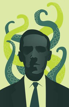 Lovecraftian horror is only thing that scares me. H.P. Lovecraft print by Emily Cheeseman.