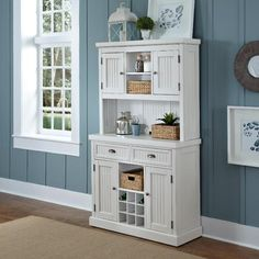 Home Styles Distressed White Nantucket Buffet and Hutch