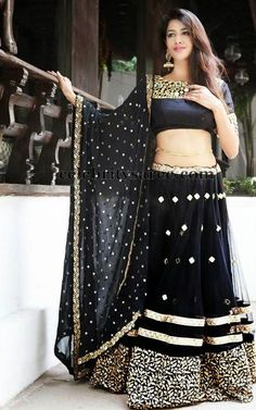 Black with golden diamond work heavy embroidery #lehengacholi comes with net diamond work black dupatta.