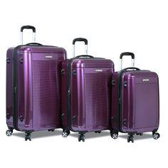 Dejuno Contour 3 Piece Hardside Spinner TSA Lock Luggage Set - DJ-8273-APPLE GREEN