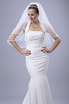 Bridal Wedding Veil White 2 Tier Fingertip Length 14in Satin Ribbon Edge *** Want to know more, click on the image.(This is an Amazon affiliate link and I receive a commission for the sales)