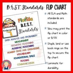 Florida B.E.S.T. Standards Flip Chart for Grade K by Star Kids | TpT Kindergarten Teachers, Teacher Pay Teachers, Florida Standards, Star Kids, Marzano, Number Sense, Flipping, Vocabulary, Back To School