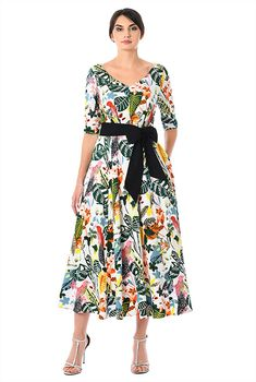 Floral and bird print cotton contrast sash tie dress-CL0058013