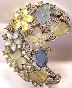 Crown Trifari Translucent Flowers and Leaves Brooch in Jonquil and Light Blue - $99.50