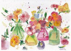 De arte acuarela original Flores en por EstebanezWatercolors