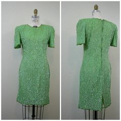 Vintage 1980s silk sequin dress. Gorgeous green!