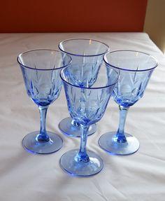 Set of 4 Vintage Blue Wine Goblets /Blue Wine Glasses by SLYDAShop