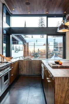 Contemporary #kitchen in a #modern mountain #vacation home