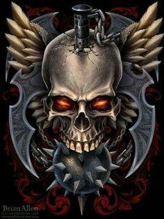 Dark Fantasy Art, Fantasy Artwork, Skull Tattoo Design, Tattoo Designs, Skull Design, Indian Skull Tattoos, Badass Skulls, Totenkopf Tattoos, Skull Pictures
