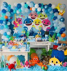 Shark Birthday Cakes, Baby Boy 1st Birthday Party, Girls Birthday Party Themes, Baby Party, Shark Party Decorations, Hai, Baby Shark, Barbie, Themed Cakes