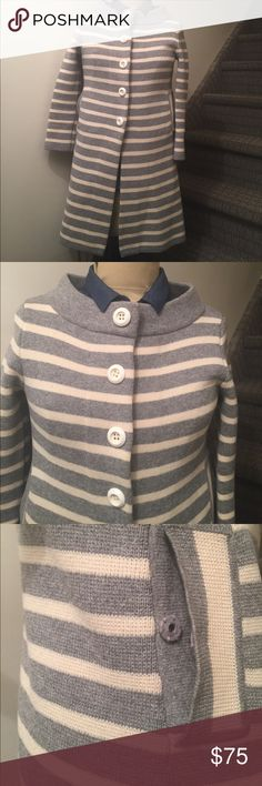"J.Crew cardigan - XS Cardigan with button/hook, hook pocket and beautiful collar.   90% wool/10% cashmere. 17"" armpit to armpit and 34"" long...... J. Crew Jackets & Coats"