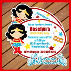 wonderwoman wonder woman party super hero superhero girl girly printable invitations invitation piy from Curious Princess