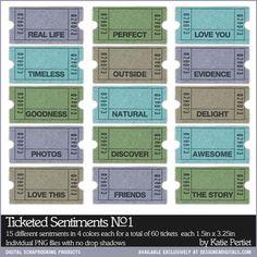 Ticketed Sentiments No. 01 - Digital Scrapbooking Elements DesignerDigitals