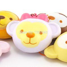 1PCS New Mini Kawaii Squishy Cartoon Monkey Phone Straps Slow Rising Mascot Kids…
