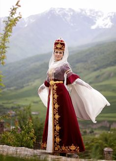 Kabardian Girl in Traditiomal Costume, North Caucasus Historical Costume, Historical Clothing, Costumes Around The World, 18th Century Costume, Folklore, Beautiful Costumes, Black Women Art, Folk Costume, Handmade Clothes