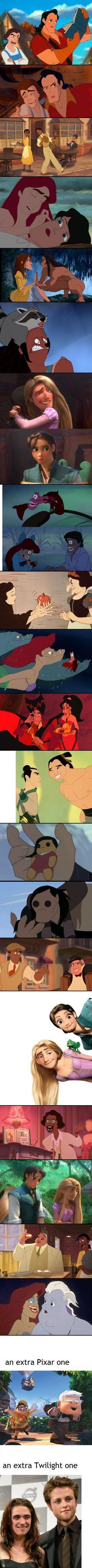 Disney faces switched! This made me laugh harder than I'd like to admit.
