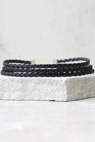"""Don't question it, the Lattice Explain Grey Choker Necklace is a wardrobe staple! Woven strands of vegan suede form this chic choker. Necklace measures 11.75"""" long, with a 2.75"""" extender chain."""