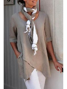 Mostata Half Sleeve Irregular Plus Size Blouses Asymmetrical Hem Shirt Half Sleeves, Types Of Sleeves, Short Sleeves, Casual Tops, Casual Shirts, Long Shirts, Casual Jeans, Blouse En Coton, Blouse Online