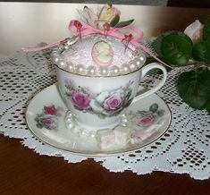 Tea Cup Pin Cushion - I made this teacup pincushion for my Aunt as a Christmas Gift.