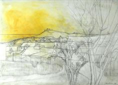 Wilhelmina Barns-Graham (British, - St Ives from Salubrious House - pencil and oil on paper Cartoon Drawings, Art Drawings, Gallery Of Modern Art, Tate Gallery, Art Society, St Ives, London Art, Landscape Art, Painting & Drawing