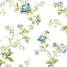 WA7752-WAVERLY CLASSICS FOREVER YOURS TRAIL WALLPAPER-Eggshell-Gray Blue-Cobalt Blue-Sage-Amber-Butter-Willow Green-Grass Green